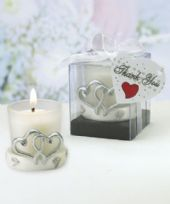 Interlocking Silver Heart Candle Favour